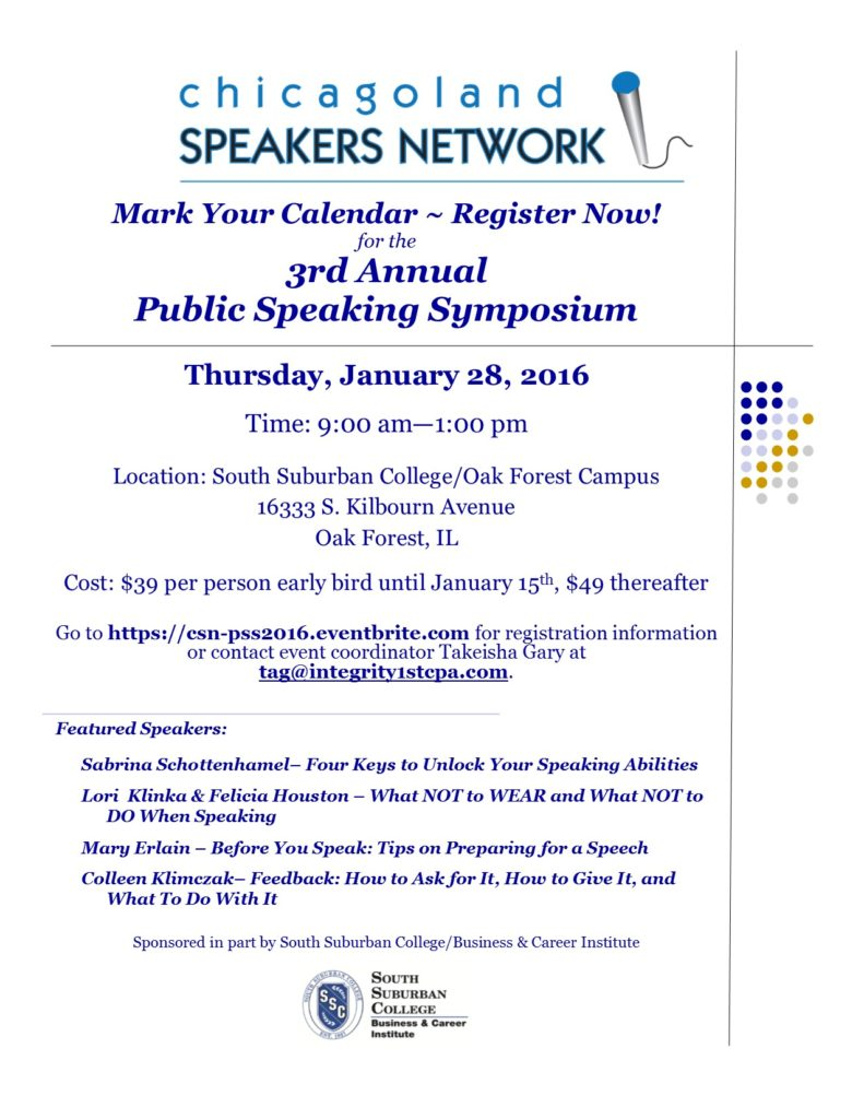 Save the date! Poster for Public Speaking Symposium